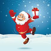 Happy Santa Jumping Over Winter Landscape