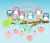 owls birds and love heart tree branch