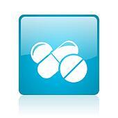 pills blue square web glossy icon