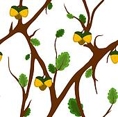 Acorn and Oak Seamless Pattern