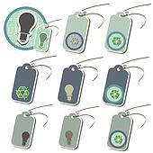 Set of light bulb Eco friendly tags