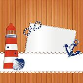 Marine background with lighthouse, anchor shell and rope.