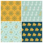 Set of Marine backgrounds - for your design, scrapbook - in vector