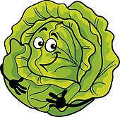 cute cabbage vegetable cartoon illustration