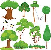 Set of trees, bushes and birds