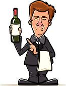 Wine Waiter Cartoon