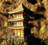 Buddhist temple in mountains