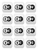 Exchange money buttons set - dollar