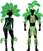 Carnival Silhouette Couple Green