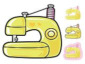 Various styles of Sewing machine Sets. Appliances Items Vector I
