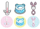 Various styles of Potty and Baby bottle tongs Sets. Baby and Chi