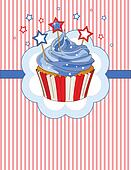 Patriotic cupcake place card