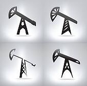 Silhouette of oil pump , vector illustration