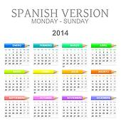 2014 crayons calendar spanish version