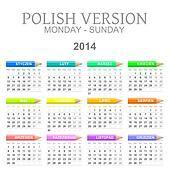 2014 Polish calendar with crayons