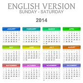 2014 calendar english version sun ? sat