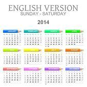 2014 crayons calendar english version sun ? sat