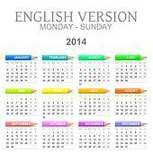 2014 crayons calendar english version mon ? sun