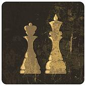 Grunge illustration of king and queen chess figures. Vector