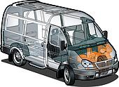mini bus ifographics cutaway