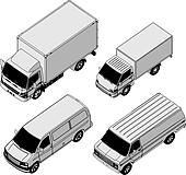 detailed delivery van isometric set