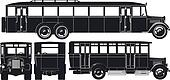 city bus 30s silhouettes set.