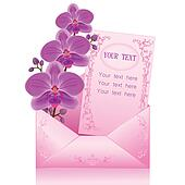 Flower orchid in envelope over white