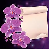 Greeting card with exotic flower orchid and paper - place for te
