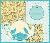 Vintage ceramic tea pot with birds