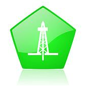 drilling green pentagon web glossy icon