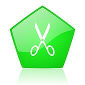 scissors green pentagon web glossy icon