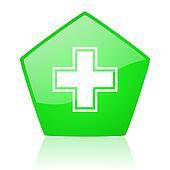 pharmacy green pentagon web glossy icon