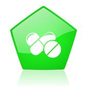 pills green pentagon web glossy icon