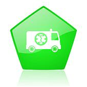 ambulance green pentagon web glossy icon