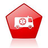 ambulance red web glossy icon