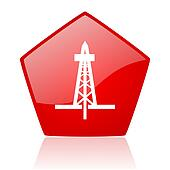 drilling red web glossy icon