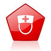 nurse red web glossy icon