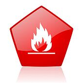 flames red web glossy icon