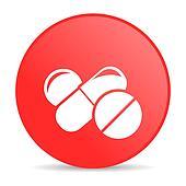 pills red circle web glossy icon