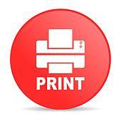 print red circle web glossy icon