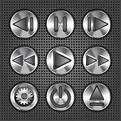 Set of stylish vector multimedia metallic knob buttons