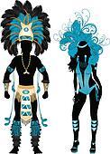 Carnival Silhouette Blue Couple