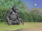 Gorilla thinking next to water - 3D render