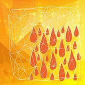 Abstract polygonal with drops and lines