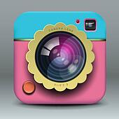 App design pink and blue photo camera icon