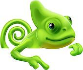 Cartoon chameleon pointing down