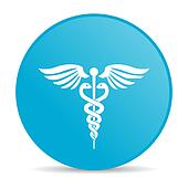 caduceus blue circle web glossy icon