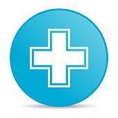 pharmacy blue circle web glossy icon