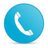 phone blue circle web glossy icon