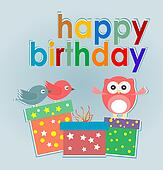birthday party card with cute owl, birds and gift boxes - happy birthday